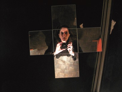 Selfie of Gina Lee but taken in a mirror on the ceiling of the Cabaret Voltaire in Switzerland