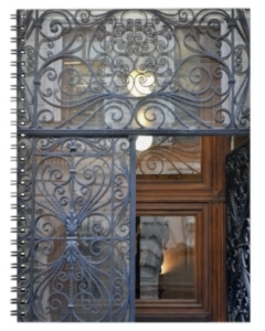 Closeup of an ornate iron gate in front of a beautiful wooden door in Vienna
