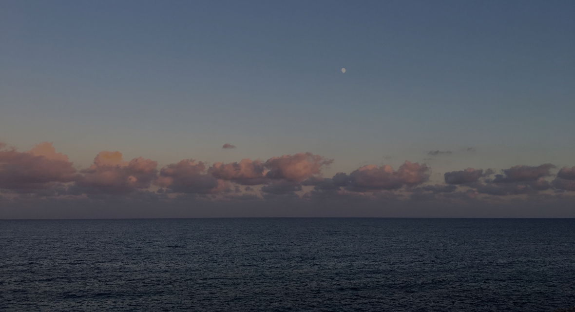 The evening sets in over the sea off the coast of Mallorca