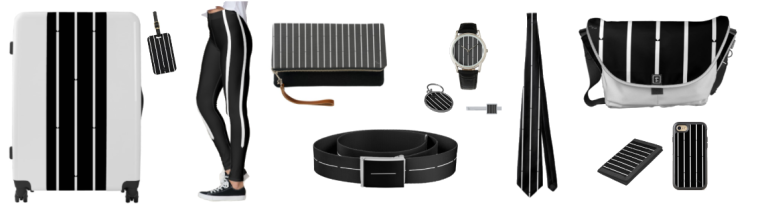 A minimalist black and white striped contemporary bamboo design on clothing, accessories and travel items.