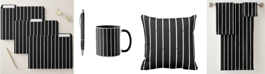 A minimalist black design with white stripes on coordinated items for the home and office.