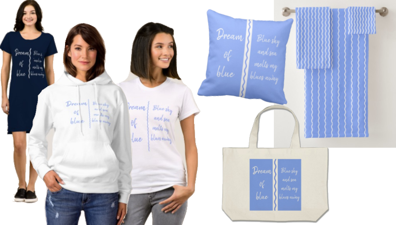 Blue and white designs inspired by the sea and the sky on clothing, bags and home furnishings