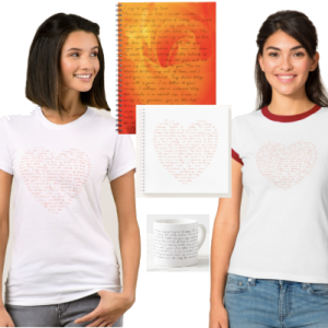 Clothing, notebooks and mugs featuring a love peom written in beautiful script.