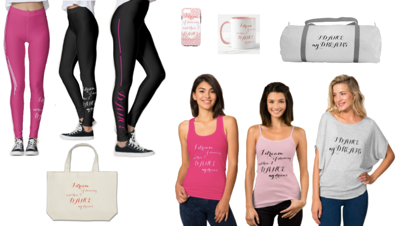 Clothing and accessories including leggings for dancers in black, pink, white and grey.
