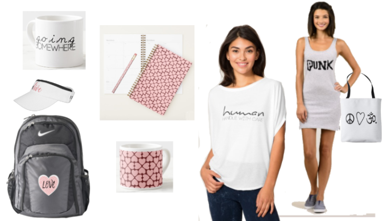 Shop featuring statement tees, bags and other items.