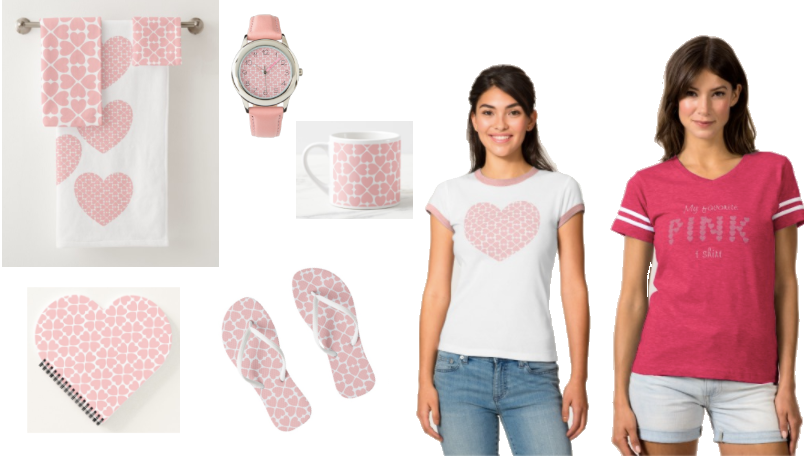 Clothing, accessories and items for the house all featuring the color pink.