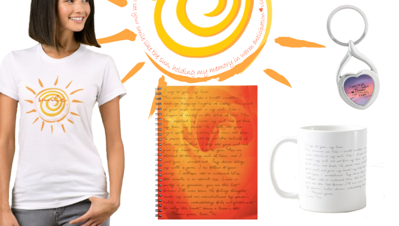 Shop feauting poetry written in cursive script on various items