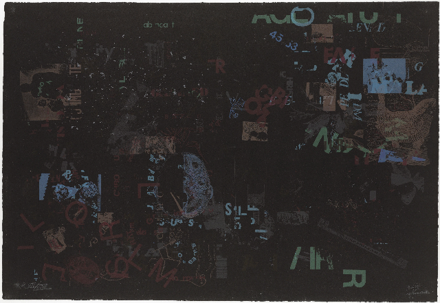 Lithography by John Cage featuring muted blues and greens on dark background