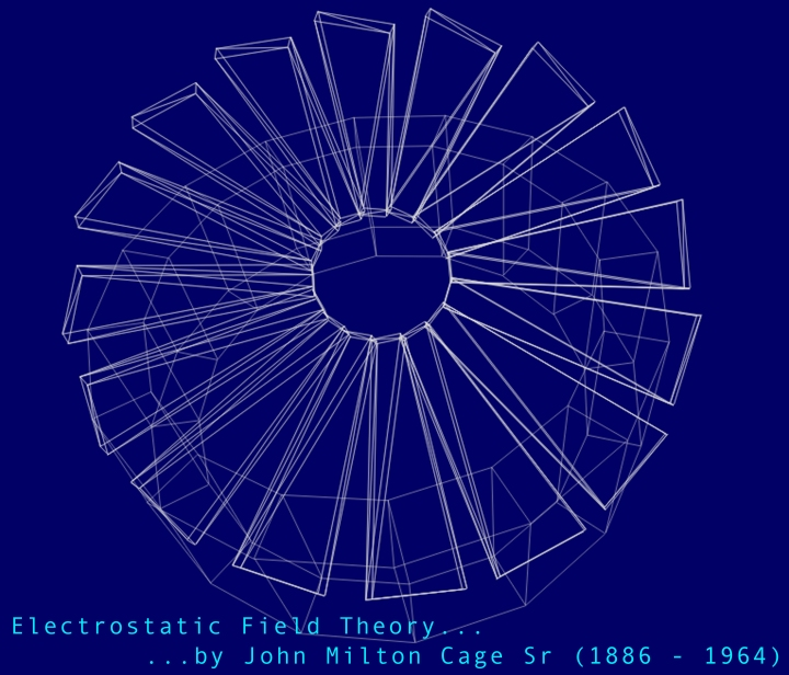 Rendering of Electrostatic Field Theory white on blue