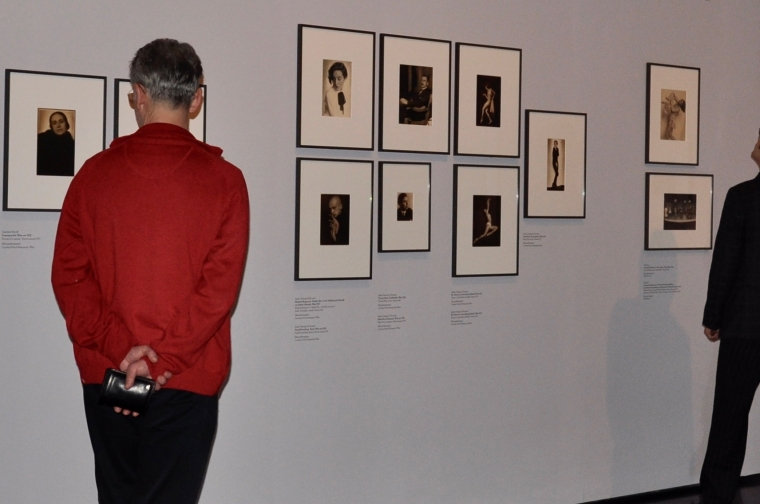 Photographs on the wall of a Trude Fleischmann exhibition