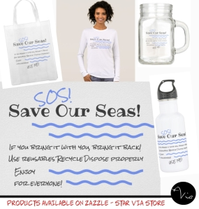 Message to encourage coastal and water clean up on shirts, bags and resusable bottles