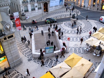 A view of the busy Chiado Square in Lisbon
